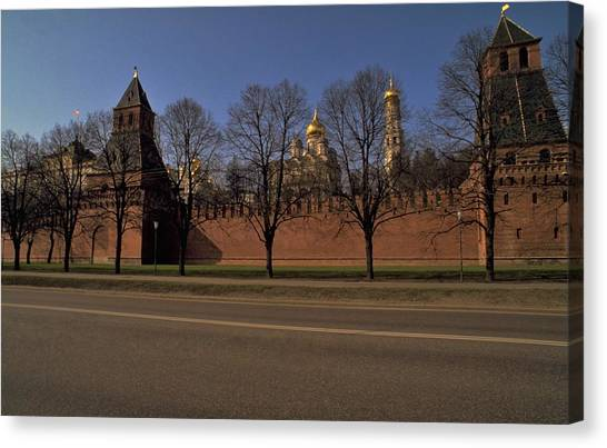 Snow Travelpics Canvas Print - Moscow Kremlin In Winter by Travel Pics