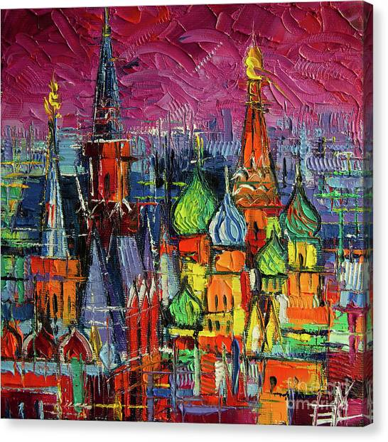 Moscow Canvas Print - Moscow Red Square View Textural Impressionist Stylized Cityscape by Mona Edulesco