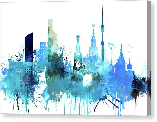 City Canvas Print - Moscow, Russia, Watercolor In Blue by Dim Dom