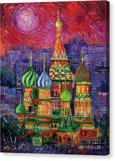 Moscow Canvas Print - Moscow Saint Basil's Cathedral by Mona Edulesco