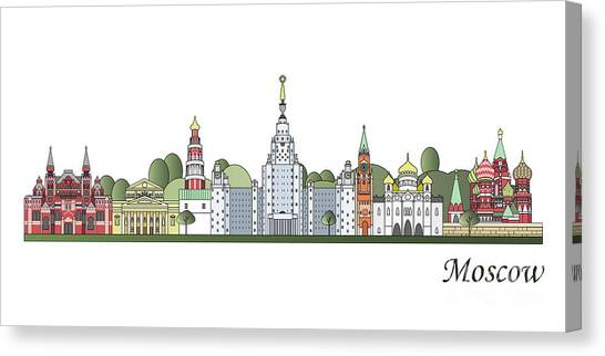 Moscow Skyline Canvas Print - Moscow Skyline Colored by Pablo Romero