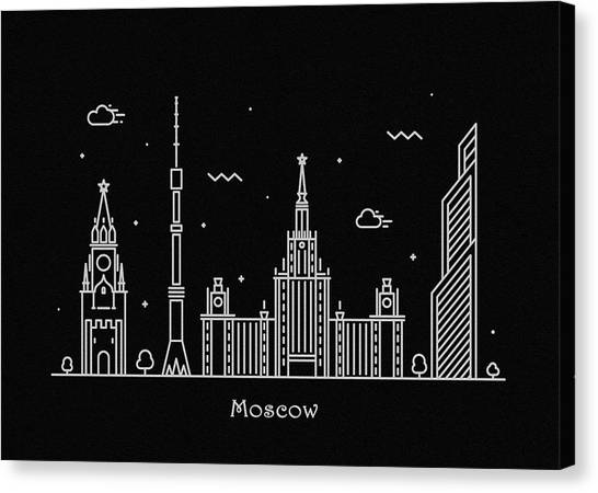 Moscow Skyline Canvas Print - Moscow Skyline Travel Poster by Inspirowl Design