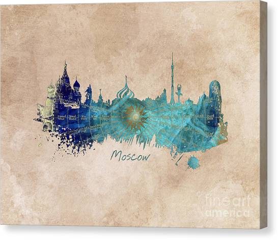 Moscow Skyline Canvas Print - Moscow Skyline Wind Rose by Justyna JBJart