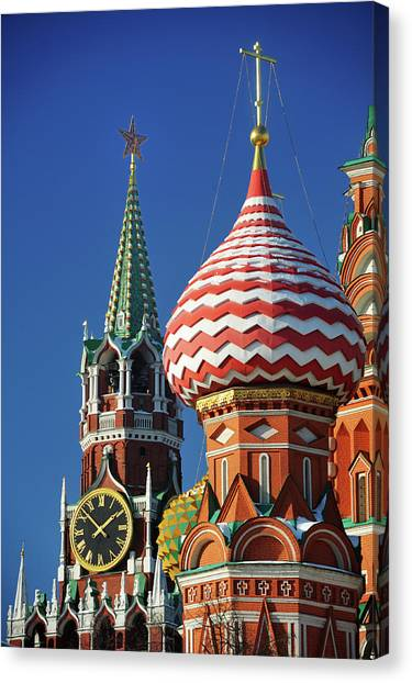 Moscow Canvas Print - Moscow, Spasskaya Tower And St. Basil Cathedral by Vladimir Zakharov