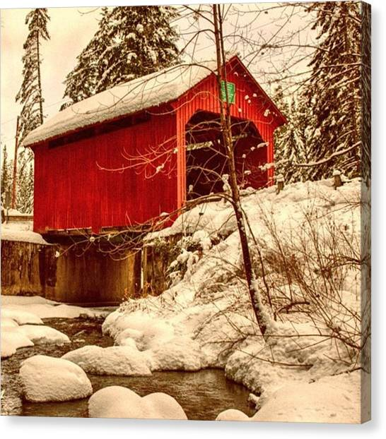 Vermont Canvas Print - Moseley Covered Bridge In Northfield by Jeff Foliage