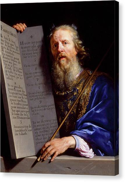 Torah Canvas Print - Moses Presenting The Tablets Of The Law by Philippe de Champaigne