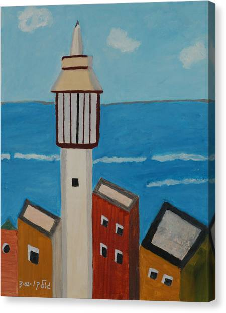 Mosque Seen From Jaffa Restaurant   Canvas Print by Harris Gulko