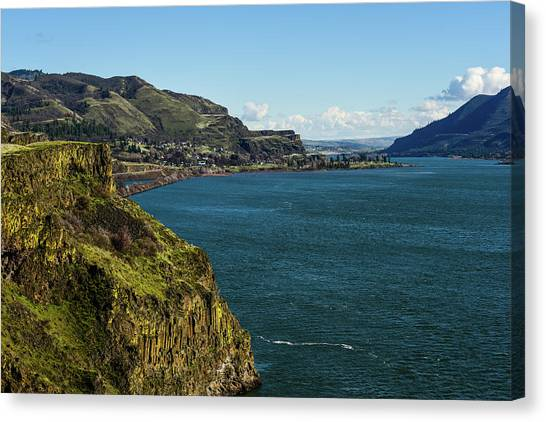 Mossy Cliffs On The Columbia Canvas Print