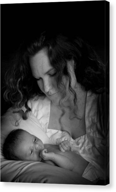 Canvas Print featuring the photograph Mother And Baby by Kelly Hazel