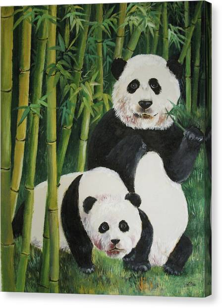 Mother And Child 2 Canvas Print by Lian Zhen