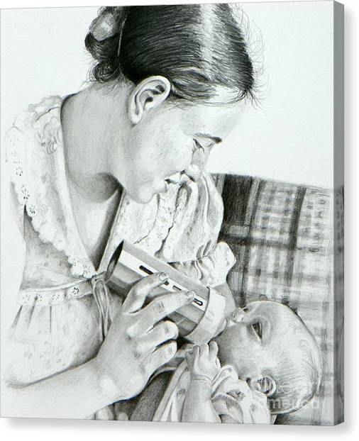 Mother And Child Canvas Print by David Ackerson