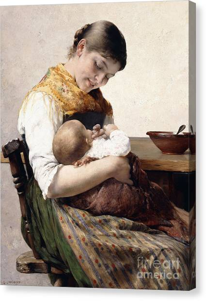 Nursing Canvas Print - Mother And Child  by Georges Jacobides
