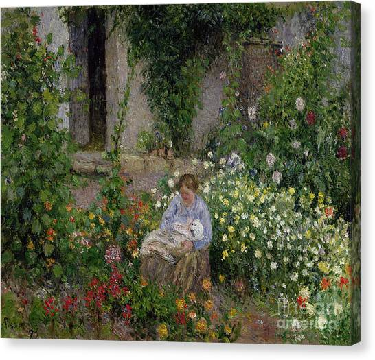 Nursing Canvas Print - Mother And Child In The Flowers by Camille Pissarro