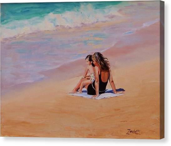 People On Beach Canvas Print - Mother And Child by Laura Lee Zanghetti