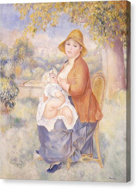 Nursing Canvas Print - Mother And Child, Maternity by Pierre Auguste Renoir