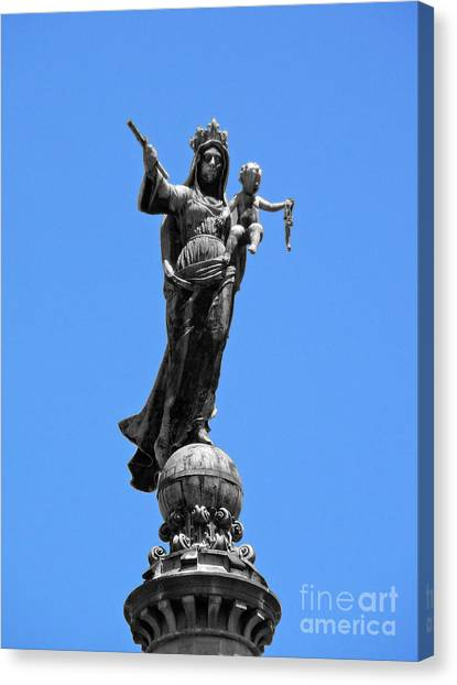 Mother And Child Rooftop Statue Canvas Print
