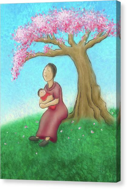 Mother And Child With Cherry Blossoms Canvas Print