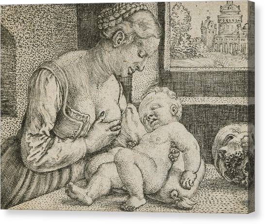 Pen And Ink Drawing Canvas Print - Mother And Child With Skull And Hourglass by Barthel Beham