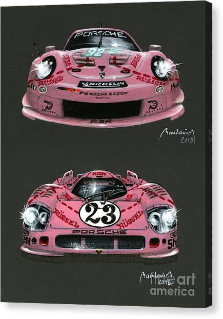 Cobra Canvas Print - Mother And Daughter - 2 Pink Pigs by Alain Baudouin