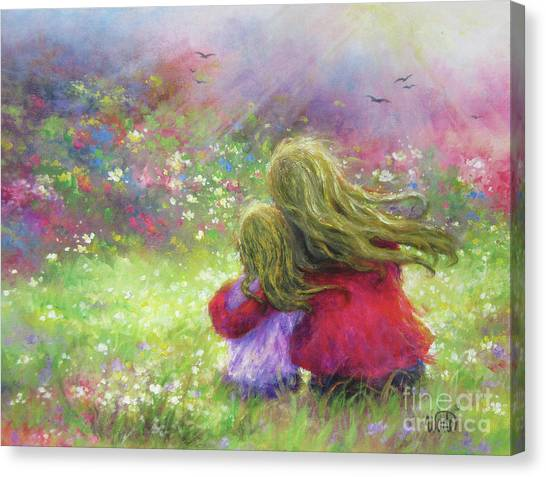 Big Sister Canvas Print - Mother And Daughter Blondes In Garden by Vickie Wade