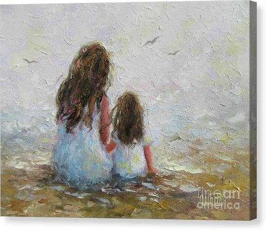 Big Sister Canvas Print - Mother And Daughter Chat by Vickie Wade