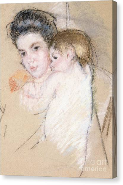 Nude Mom Canvas Print - Mother And Nude Child by Mary Stevenson Cassatt