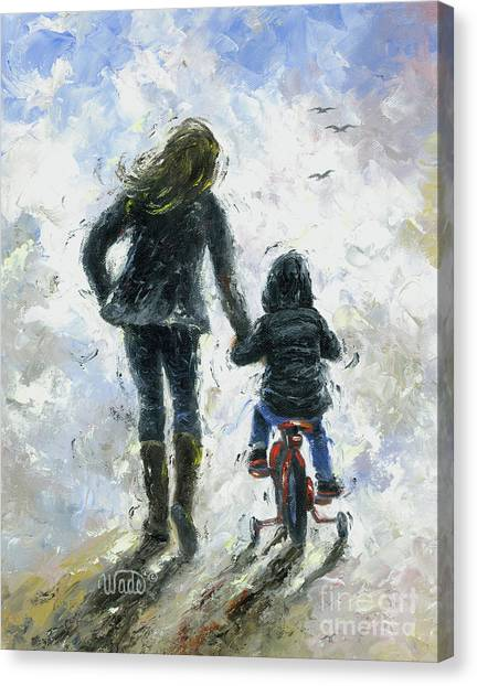 Big Sister Canvas Print - Mother And Son First Bike Ride by Vickie Wade