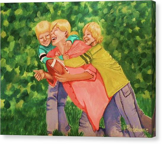 Mother And Sons Canvas Print