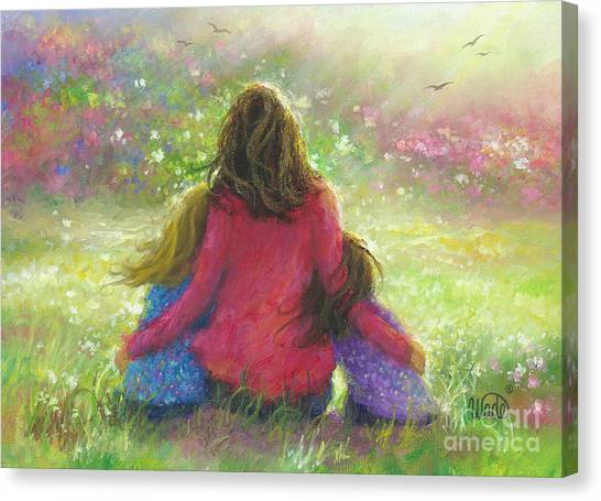 Big Sister Canvas Print - Mother And Two Daughters Garden by Vickie Wade