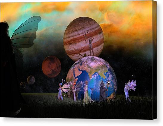 Shooting Stars Canvas Print - Mother Earth Series Plate6 by Betsy Knapp