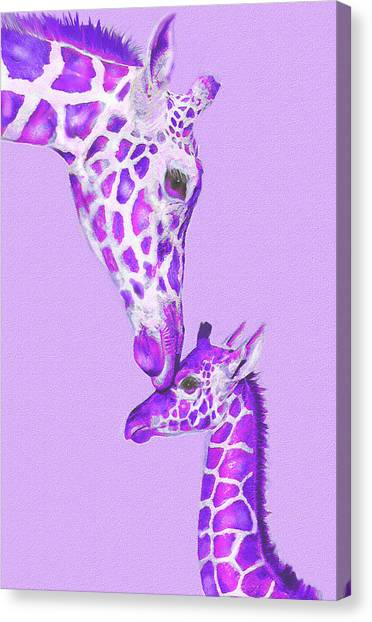 Giraffes Canvas Print - Mother Giraffe by Jane Schnetlage