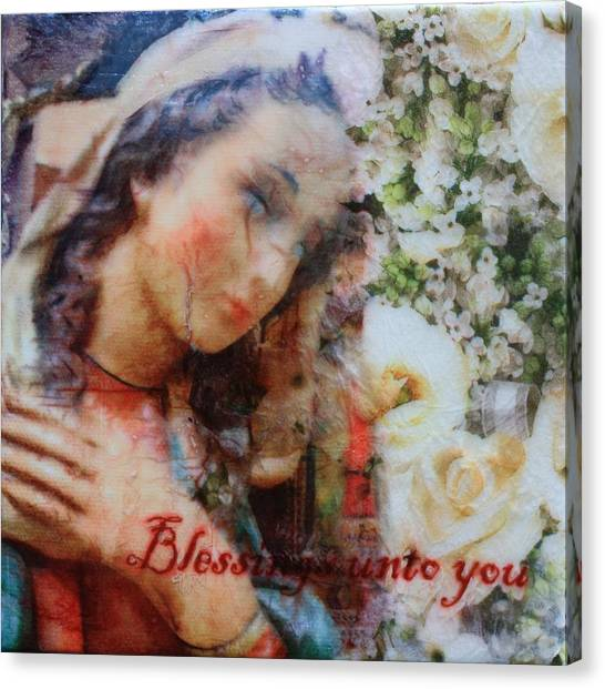 Mother Mary Blessing Canvas Print
