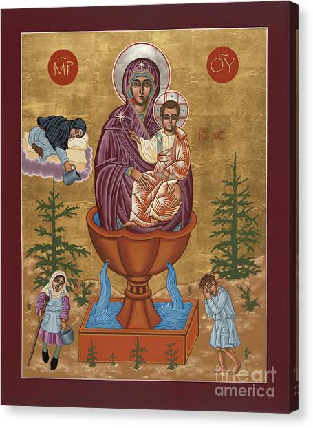 Canvas Print featuring the painting Mother Of God Life Giving Spring 179 by William Hart McNichols