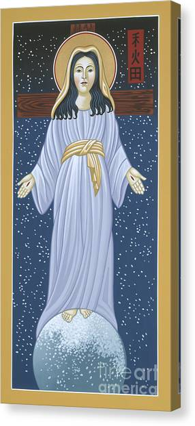 Canvas Print featuring the painting Mother Of God Of Akita- Our Lady Of The Snows 115 by William Hart McNichols