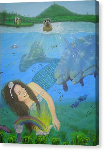 Mother Of Water Goddess Domnu - Summer Solstice Canvas Print