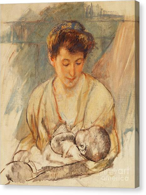 Nursing Canvas Print - Mother Rose Looking Down At Her Sleeping Baby by Mary Stevenson Cassatt