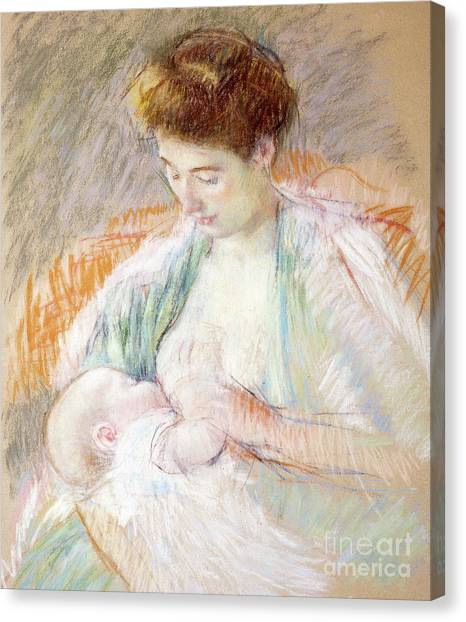 Nursing Canvas Print - Mother Rose Nursing Her Child by Mary Stevenson Cassatt
