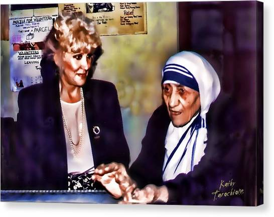 Mother Teresa In Calcutta Canvas Print by Kathy Tarochione