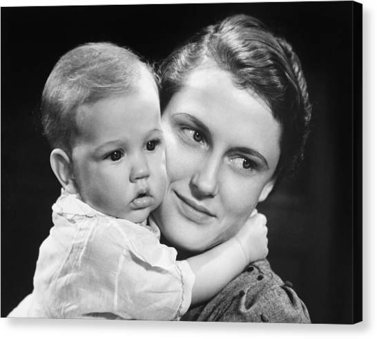 Mother With Baby Girl (9-12 Months) Posing In Studio, (b&w), Portrait Canvas Print by George Marks