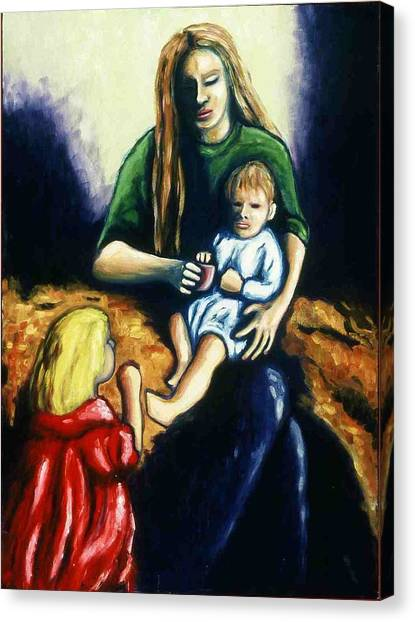 Mother With Children Canvas Print by Helen O Hara