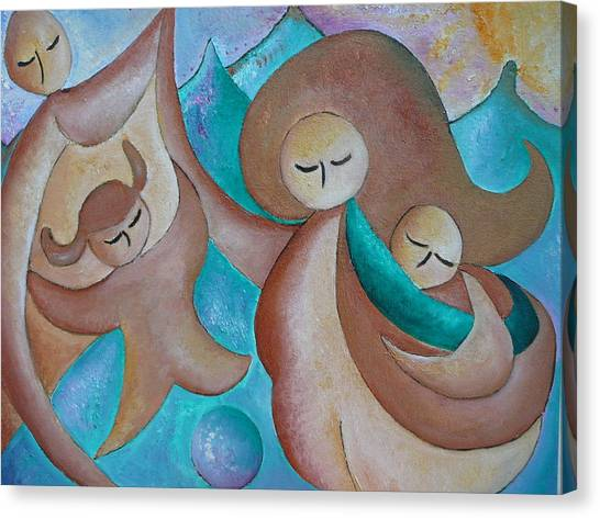 Motherhood Family Oil Painting Us Today Original By Gioia Albano Canvas Print