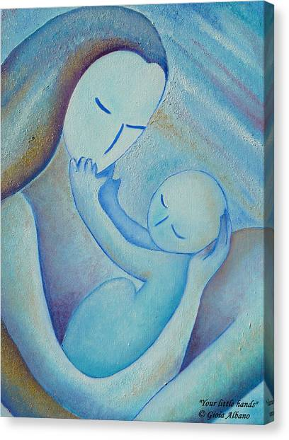 Motherhood Oil Painting Your Little Hands By Gioia Albano Canvas Print