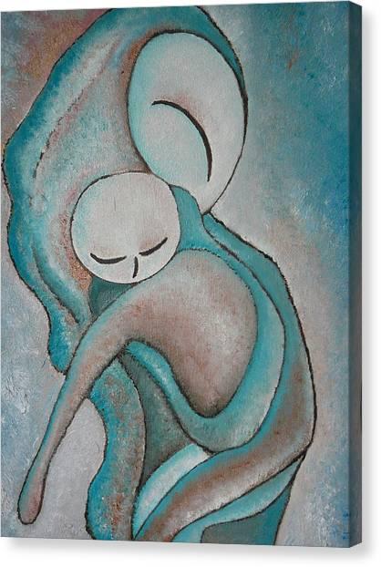 Motherhood Painting My Baby Original Oil By Gioia Albano Canvas Print