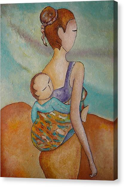 Motherhood Painting Walking With You Original Oil By Gioia Albano Canvas Print
