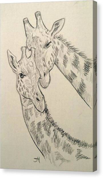 Canvas Print featuring the drawing Motherly Knudge by Jennifer Hotai