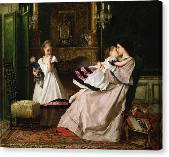 Gustave Canvas Print - Motherly Love by Gustave Leonard de Jonghe