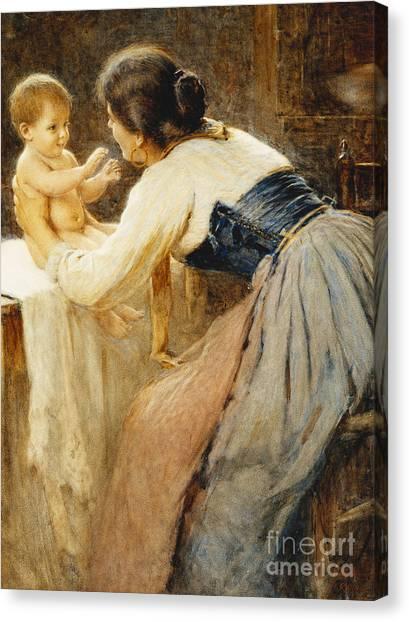 Nude Mom Canvas Print - Motherly Love by Publio de Tommasi