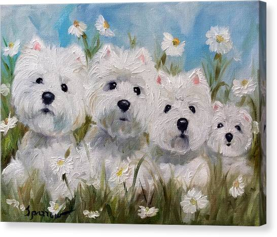 Westie Canvas Print - Mother's And Daughters by Mary Sparrow