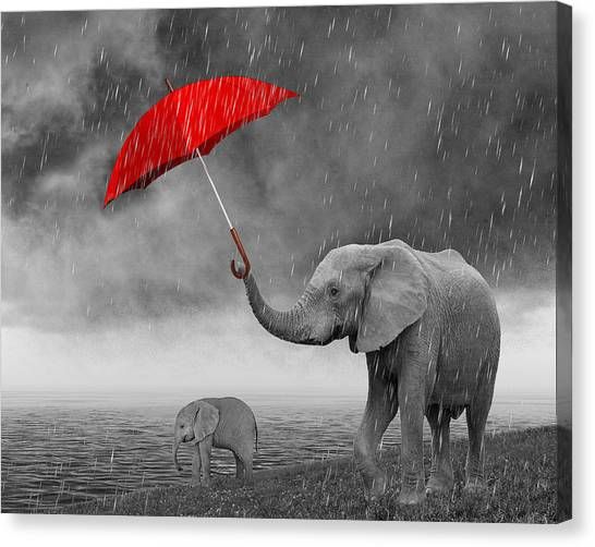 Happy Elephant Canvas Print - Mother's Love And Care by Art Spectrum