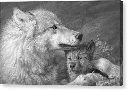 Mother And Baby Canvas Print - Mother's Love - Black And White by Lucie Bilodeau